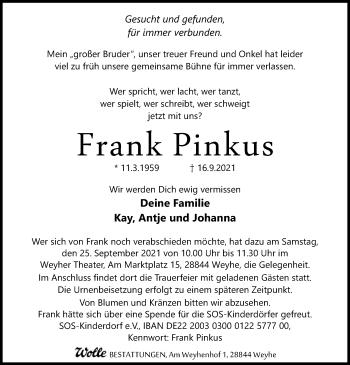 Traueranzeige von Frank Pinkus von SYK