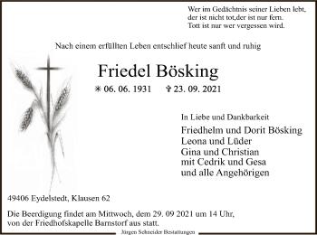 Traueranzeige von Friedel Bösking von SYK