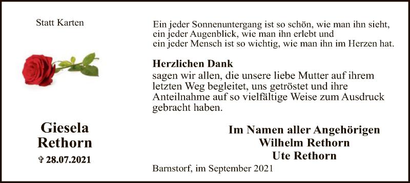 Traueranzeige für Giesela Rethorn vom 11.09.2021 aus SYK