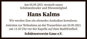 Traueranzeige von Hans Kalms von SYK
