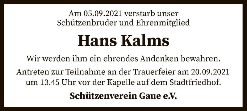 Traueranzeige für Hans Kalms vom 14.09.2021 aus SYK