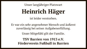 Traueranzeige von Heinrich Häger von SYK
