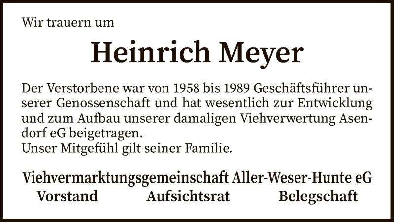 Traueranzeige für Heinrich Meyer vom 16.09.2021 aus SYK