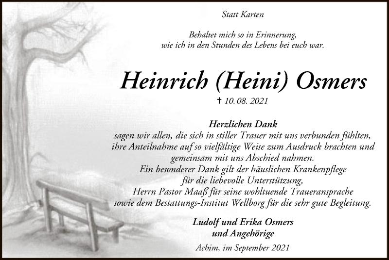 Traueranzeige für Heinrich Osmers vom 25.09.2021 aus SYK