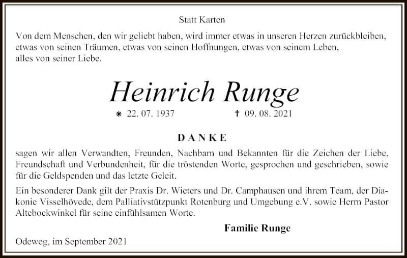 Traueranzeige für Heinrich Runge vom 17.09.2021 aus SYK