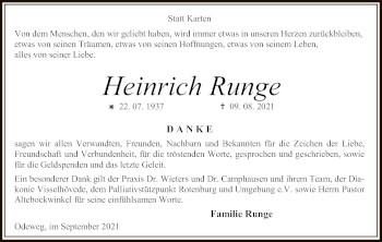 Traueranzeige von Heinrich Runge von SYK