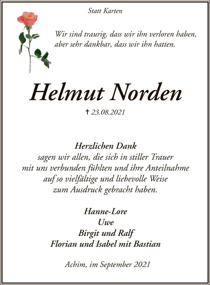 Traueranzeige für Helmut Norden vom 25.09.2021 aus SYK