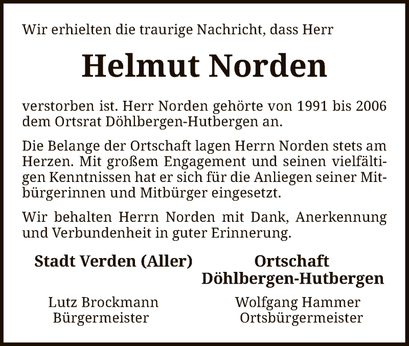 Traueranzeige für Helmut Norden vom 01.09.2021 aus SYK