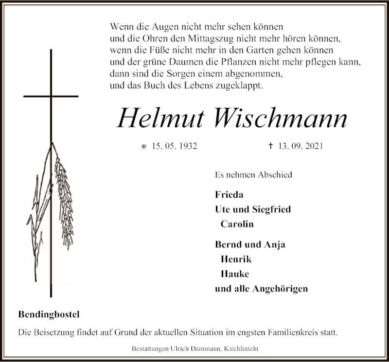 Traueranzeige für Helmut Wischmann vom 17.09.2021 aus SYK
