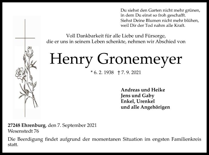 Traueranzeige für Henry Gronemeyer vom 11.09.2021 aus SYK