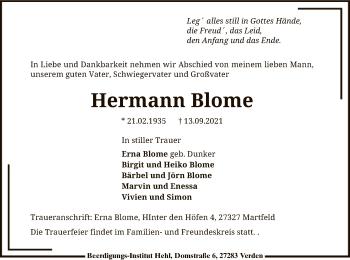 Traueranzeige von Hermann Blome von SYK
