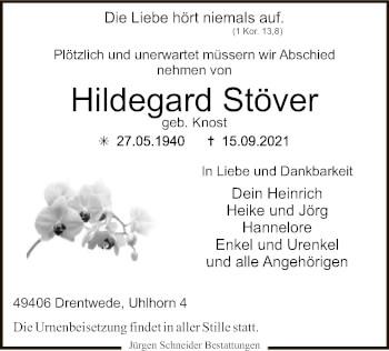 Traueranzeige von Hildegard Stöver von SYK