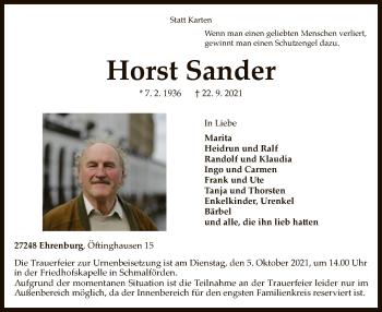 Traueranzeige von Horst Sander von SYK