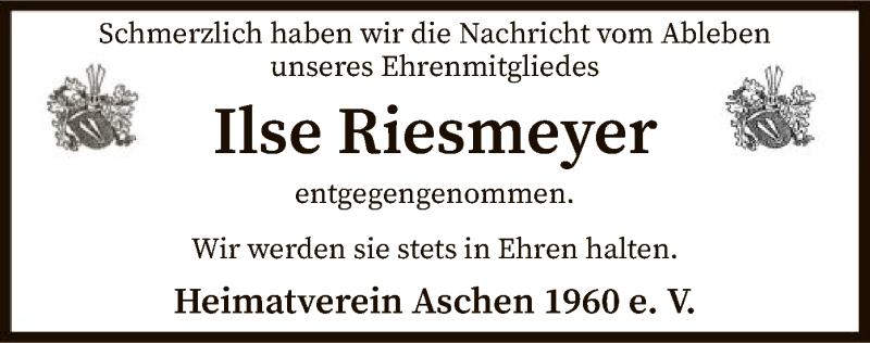 Traueranzeige für Ilse Riesmeyer vom 15.09.2021 aus SYK