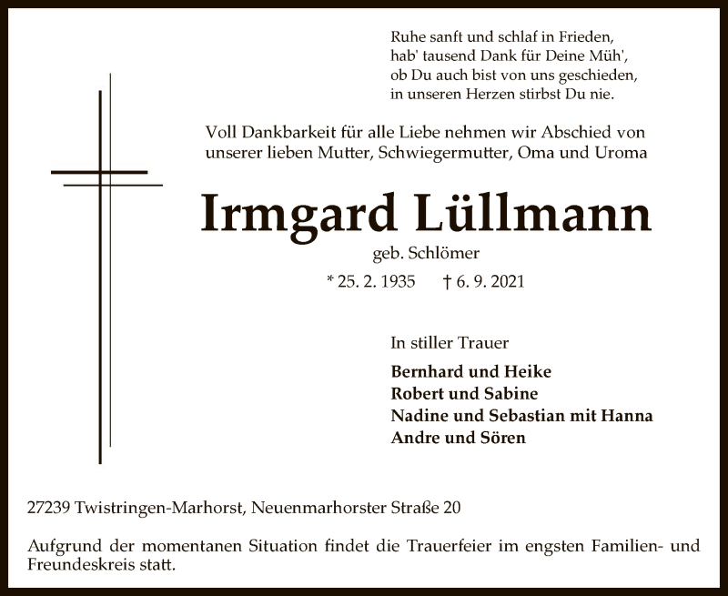 Traueranzeige für Irmgard Lüllmann vom 11.09.2021 aus SYK