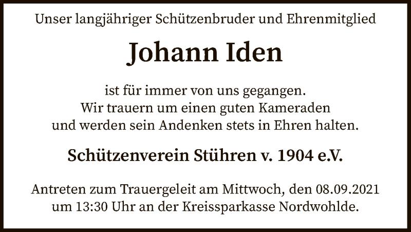Traueranzeige für Johann Iden vom 07.09.2021 aus SYK