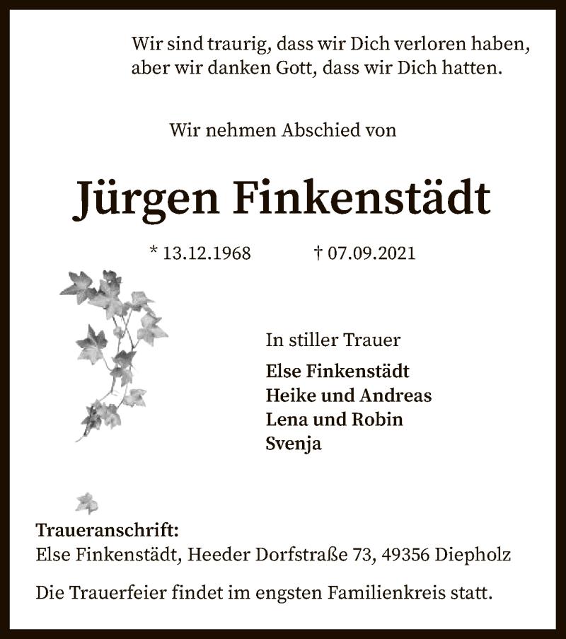 Traueranzeige für Jürgen Finkenstädt vom 11.09.2021 aus SYK