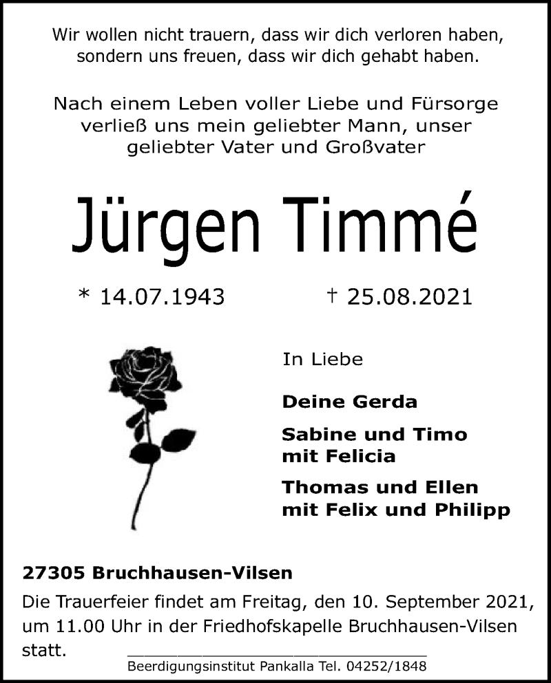 Traueranzeige für Jürgen Timmé vom 04.09.2021 aus SYK