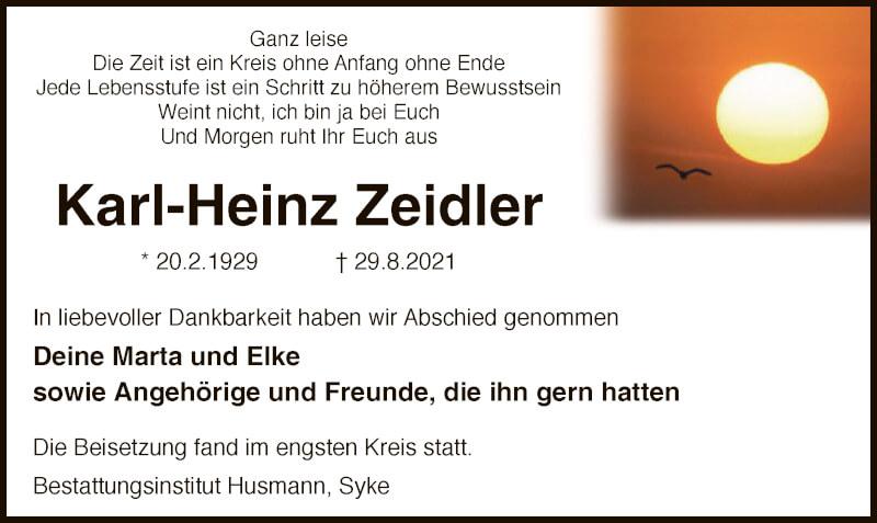 Traueranzeige für Karl-Heinz Zeidler vom 17.09.2021 aus SYK