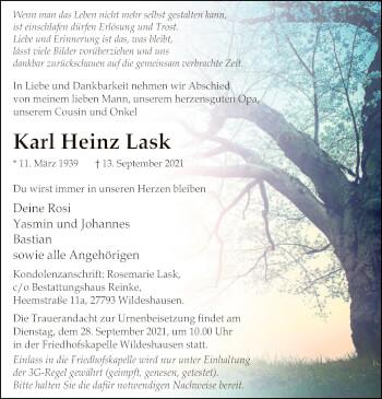 Traueranzeige von Karl Heinz Lask von SYK
