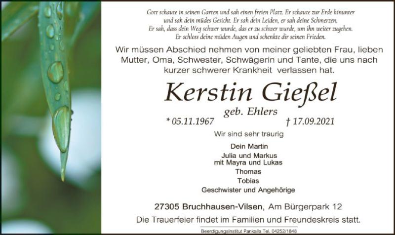 Traueranzeige für Kerstin Gießel vom 21.09.2021 aus SYK