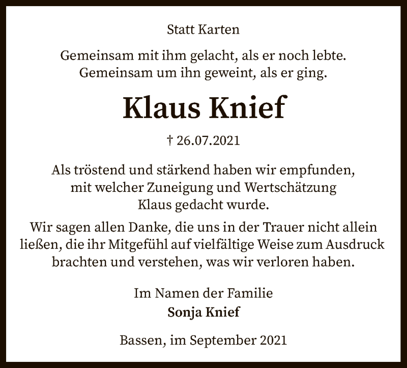 Traueranzeige für Klaus Knief vom 04.09.2021 aus SYK