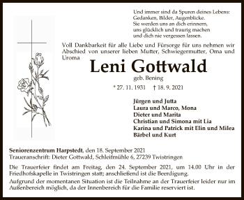 Traueranzeige von Leni Gottwald von SYK