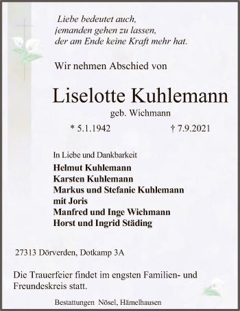 Traueranzeige von Liselotte Kuhlemann von SYK