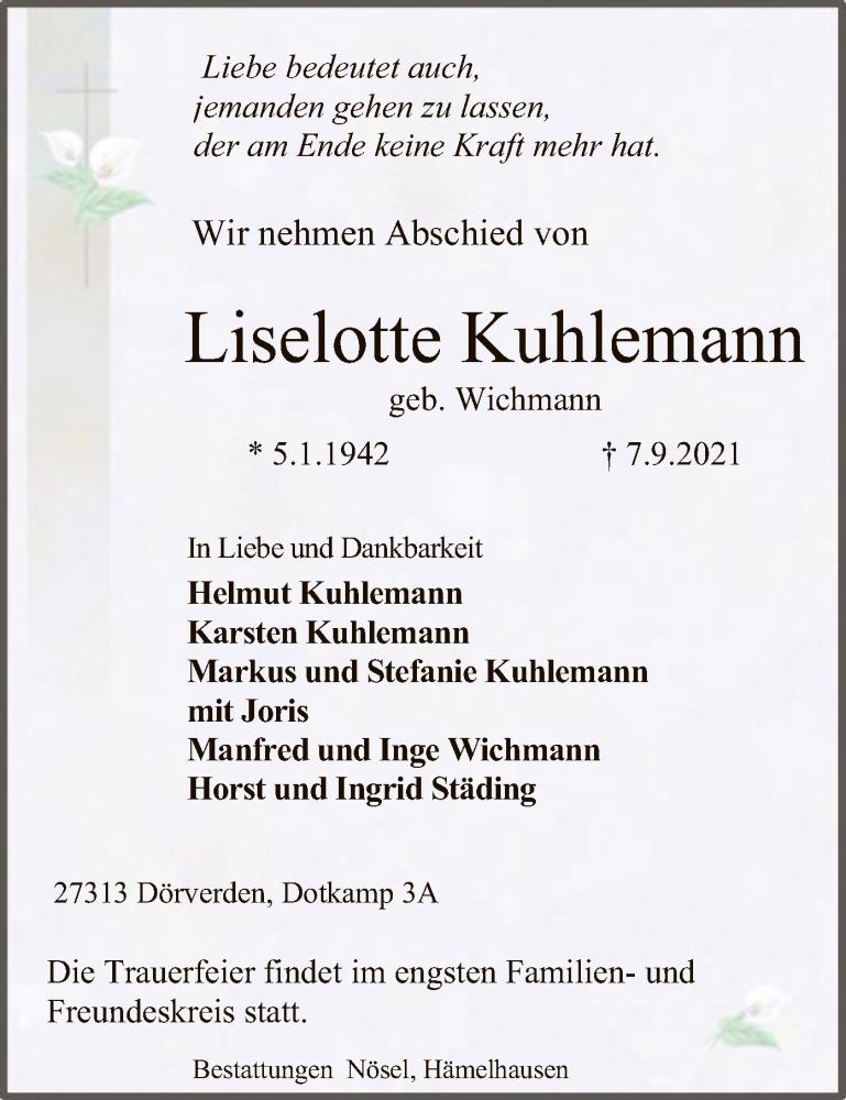 Traueranzeige für Liselotte Kuhlemann vom 11.09.2021 aus SYK