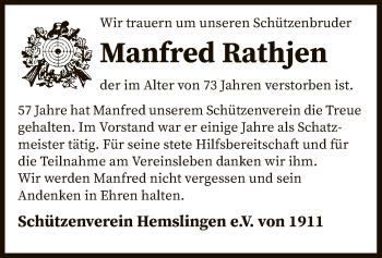 Traueranzeige von Manfred Rathjen von SYK
