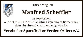 Traueranzeige von Manfred Scheffler von SYK