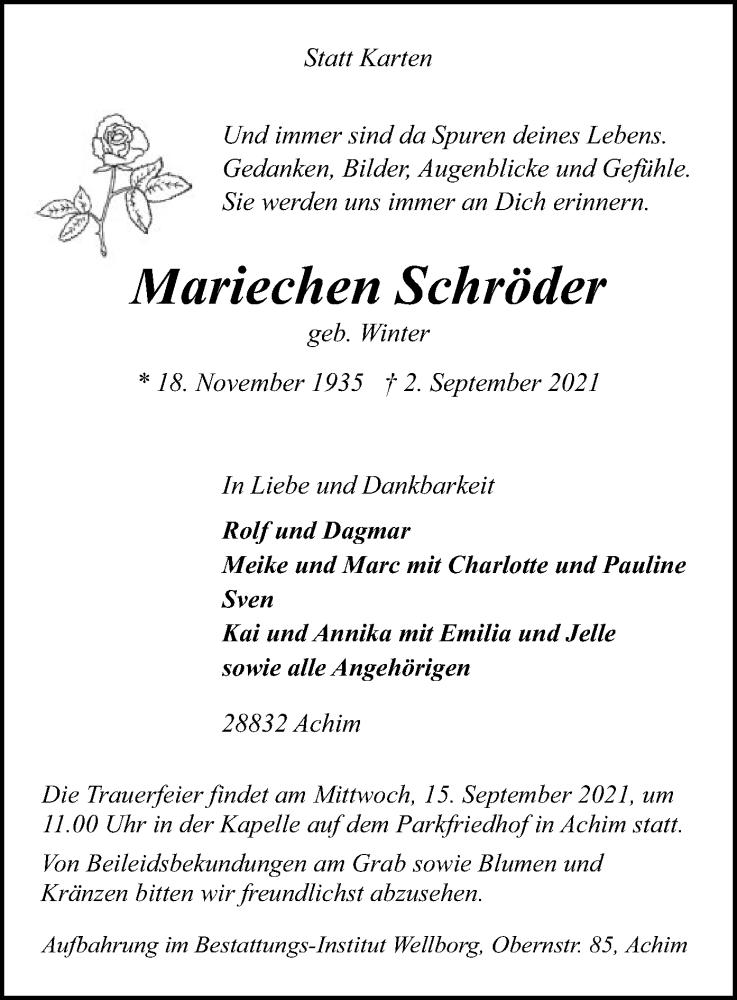 Traueranzeige für Mariechen Schröder vom 09.09.2021 aus SYK