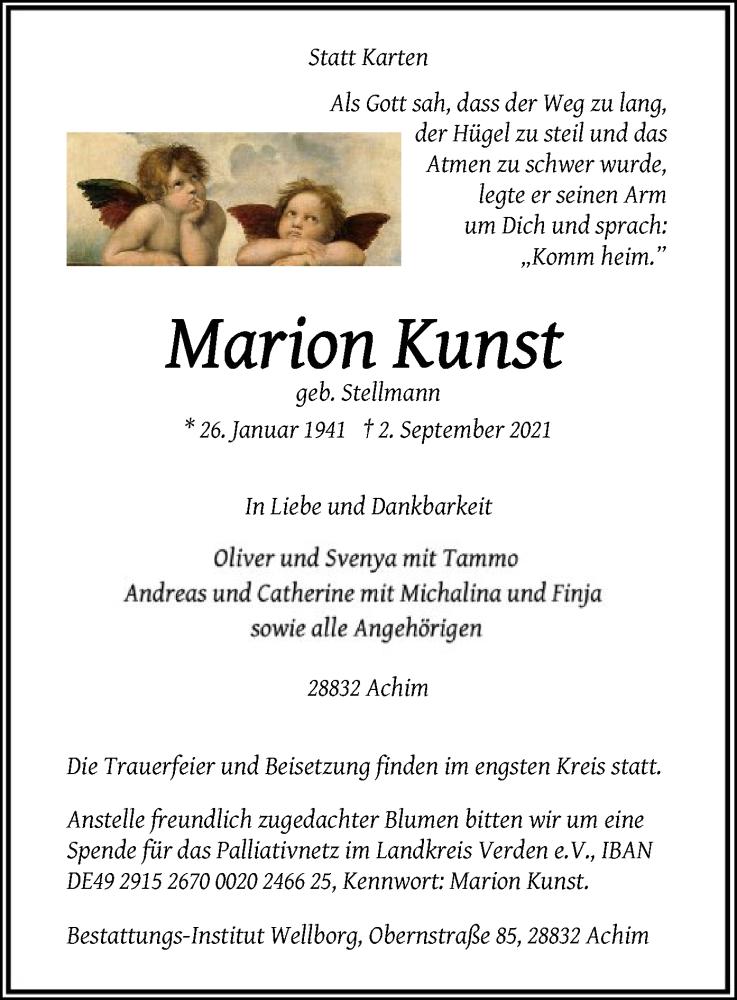 Traueranzeige für Marion Kunst vom 11.09.2021 aus SYK