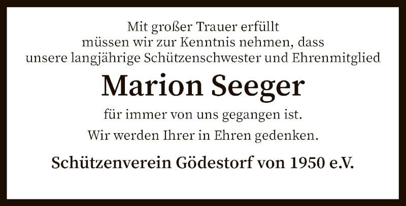Traueranzeige für Marion Seeger vom 17.09.2021 aus SYK