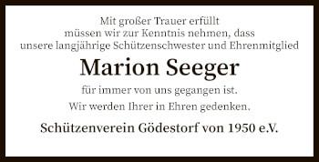 Traueranzeige von Marion Seeger von SYK