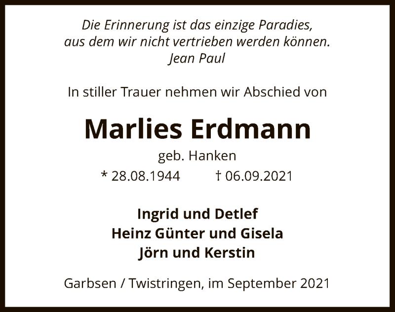Traueranzeige für Marlies Erdmann vom 14.09.2021 aus SYK