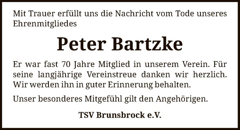Traueranzeige für Peter Bartzke vom 07.09.2021 aus SYK