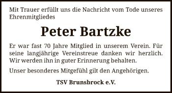 Traueranzeige von Peter Bartzke von SYK