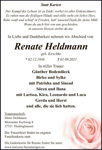 Traueranzeige von Renate Heldmann von SYK