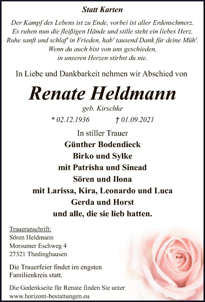 Traueranzeige für Renate Heldmann vom 04.09.2021 aus SYK