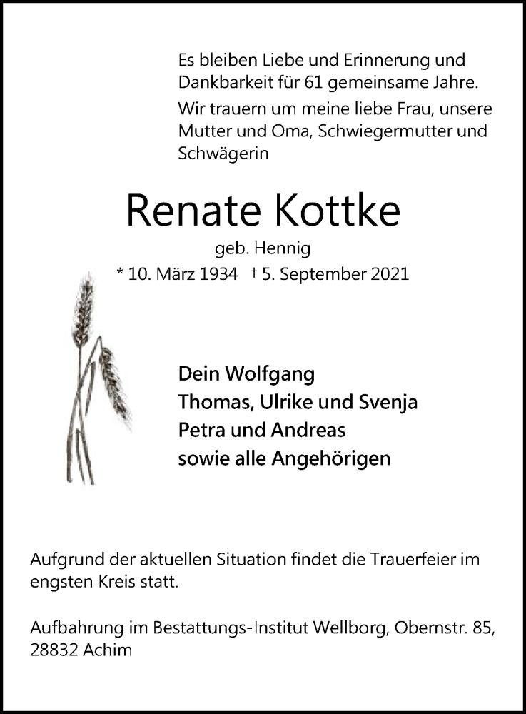 Traueranzeige für Renate Kottke vom 08.09.2021 aus SYK