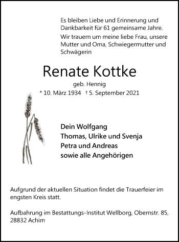 Traueranzeige von Renate Kottke von SYK