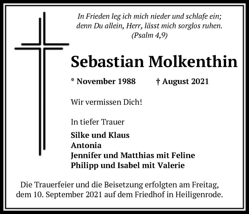 Traueranzeige für Sebastian Molkenthin vom 11.09.2021 aus SYK