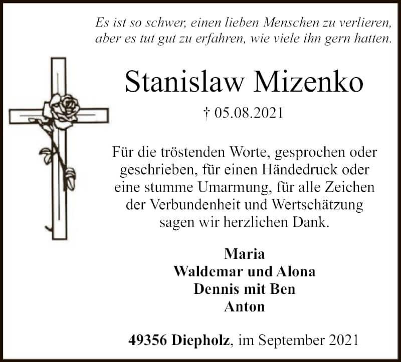 Traueranzeige für Stanislaw Mizenko vom 17.09.2021 aus SYK