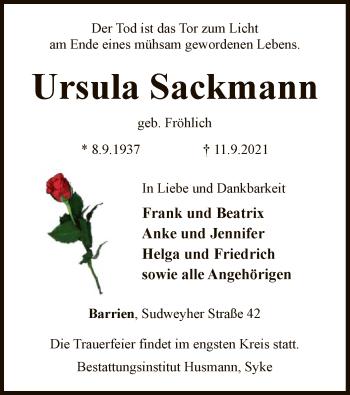 Traueranzeige von Ursula Sackmann von SYK