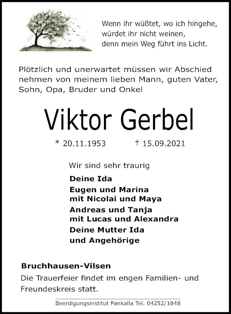 Traueranzeige für Viktor Gerbel vom 17.09.2021 aus SYK