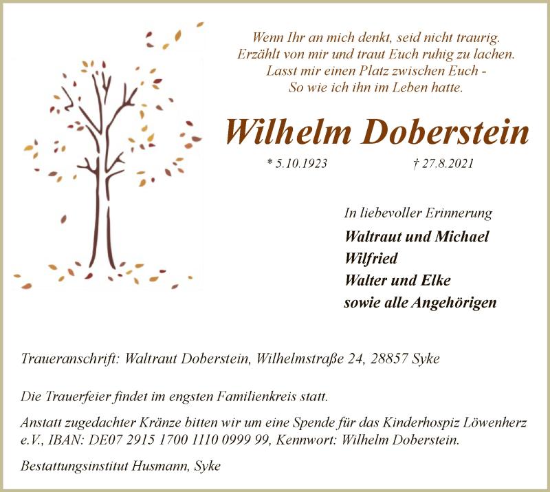 Traueranzeige für Wilhelm Doberstein vom 01.09.2021 aus SYK