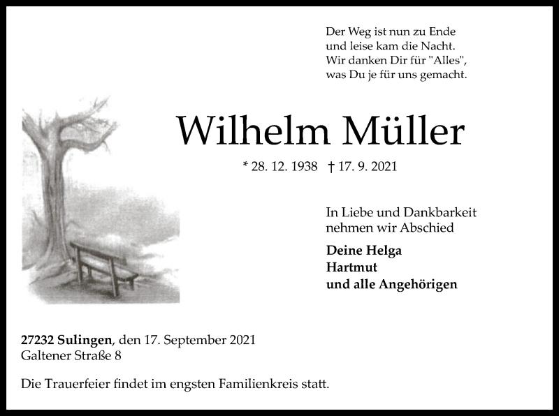 Traueranzeige für Wilhelm Müller vom 21.09.2021 aus SYK