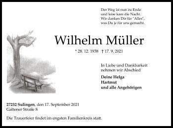 Traueranzeige von Wilhelm Müller von SYK