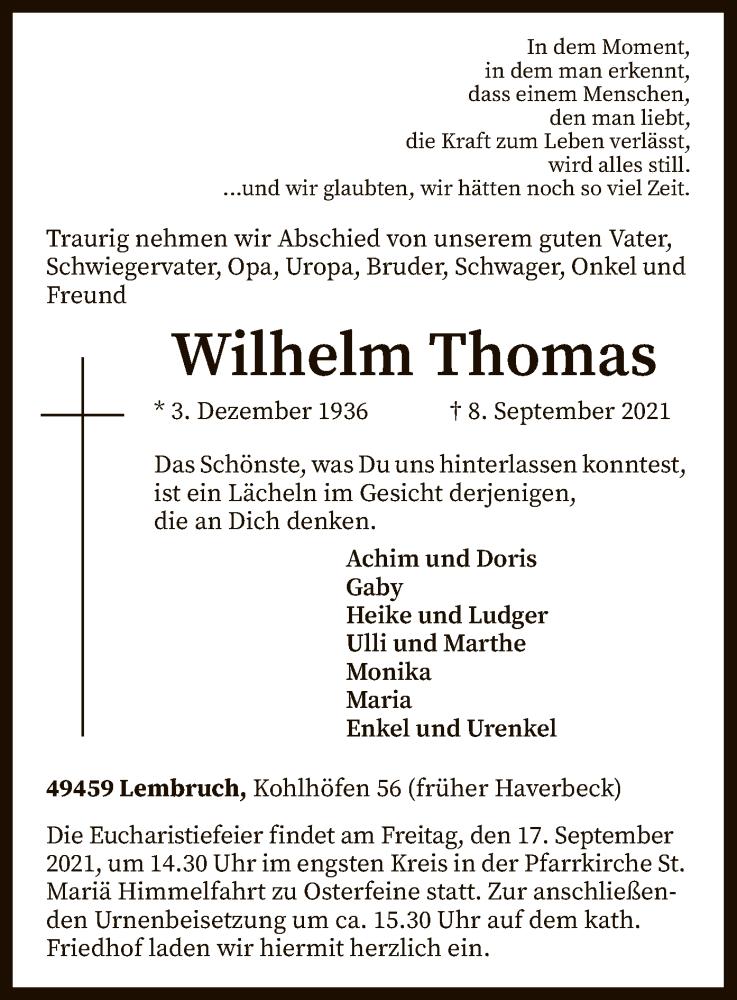Traueranzeige für Wilhelm Thomas vom 11.09.2021 aus SYK